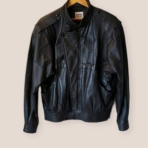 Vintage Black Leather Jacket Size M